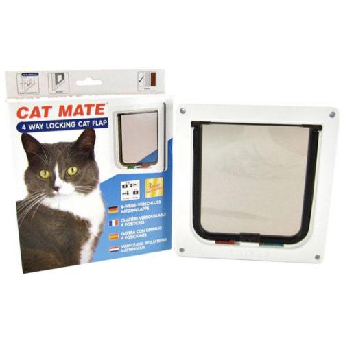 Kattedør Catmate 4 veis låsbar hvit