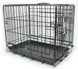 Sammenleggbart stålbur til hund transportbur svart