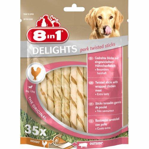 8in1 Delights Pork Twisted Sticks 35 stk